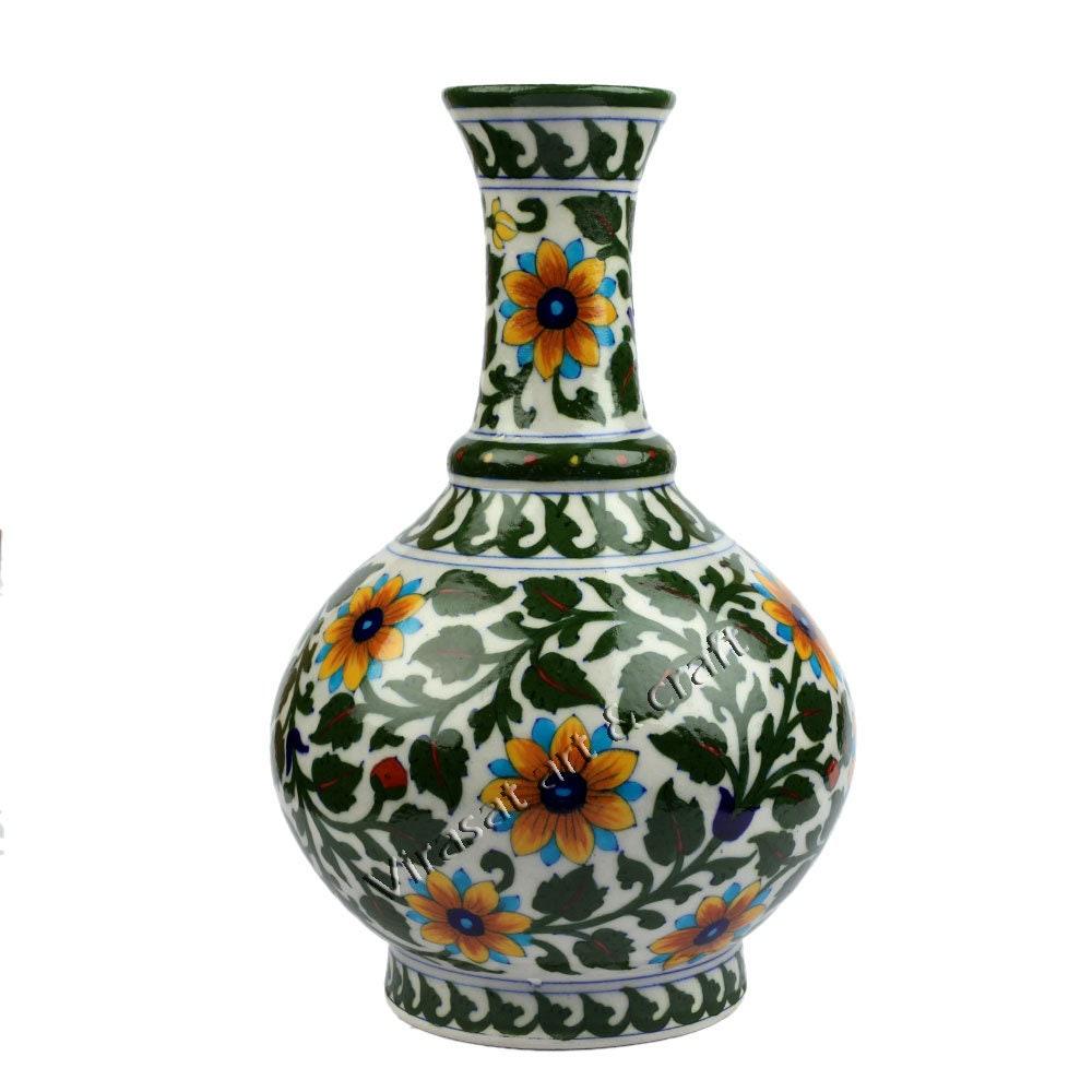 Blue Pottery Flower Vase Indian Handicraft Gift Home Decor Etsy