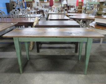 Handmade Farmhouse Narrow Table With Country Green Base