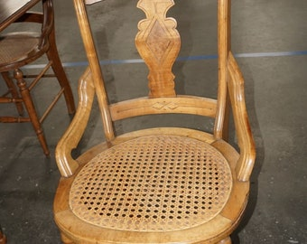Chairs, Set Of 6, Victorian Hip Rest, Maple, Antique, Cane