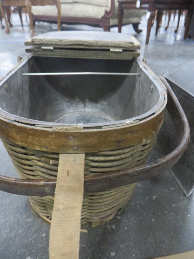 Antique Hawkeye Brand Picnic Basket Refrigerator Cooler