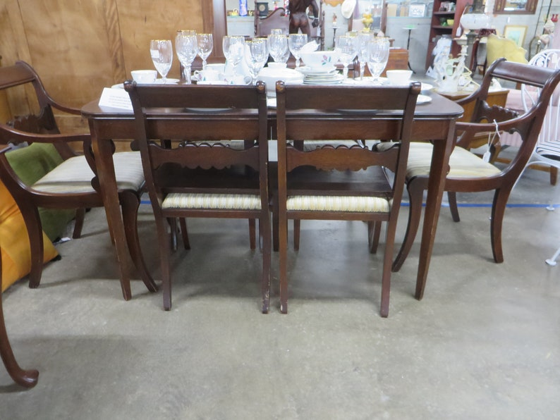 Surprising Vintage Tomlinson Of High Point Nc Dining Table 6 Chairs And 1 Leaf Beutiful Home Inspiration Xortanetmahrainfo