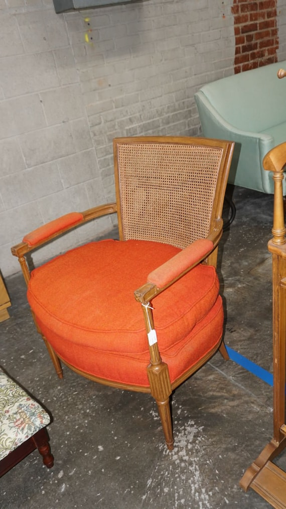 Excellent Vintage Cane Back Orange Upholstered Accent Chair Ncnpc Chair Design For Home Ncnpcorg