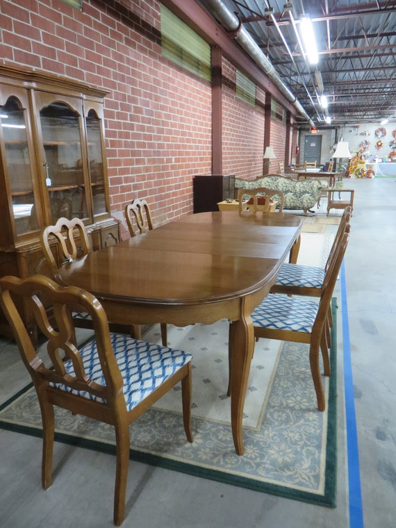 Vintage Maple Dining Room Table Set with 6 Upholstered Chairs, Leaves and  Table Cover