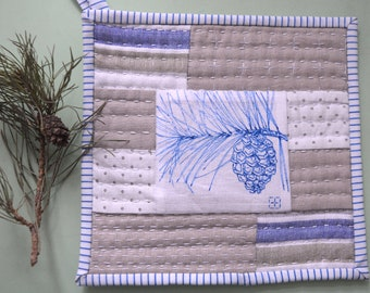 Quilted Pot Holder, Hand-painted, Hand stitchs, Winter pinecone