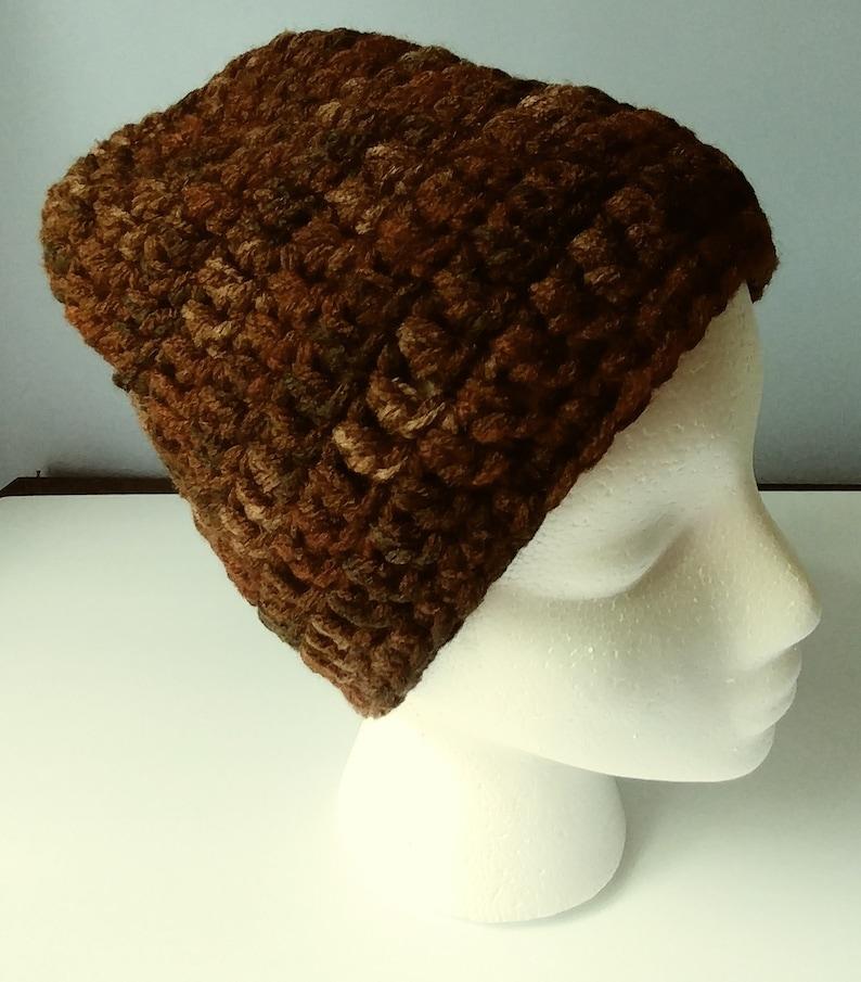 adult and Black Crochet Beanie Camo Brown Burgundy Tan