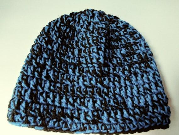 a1fdd56a335 Crochet Beanie Royal Blue and Black adult