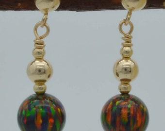 14K Solid Gold 7mm Fire Green Opal  Beads  Earrings
