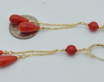 New 14K Solid Gold 15x 9 Natural Coral Teardrop Dangle leverback Earrings