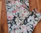 1980s Floral Jeans Pink Black Yellow White Jack Mulqueen Size 12 Vintage Pants Retro Fashion