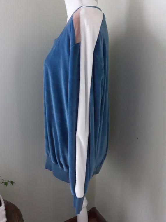 Vintage Shirt Blue Velour Sweater Cardigan Sears … - image 4