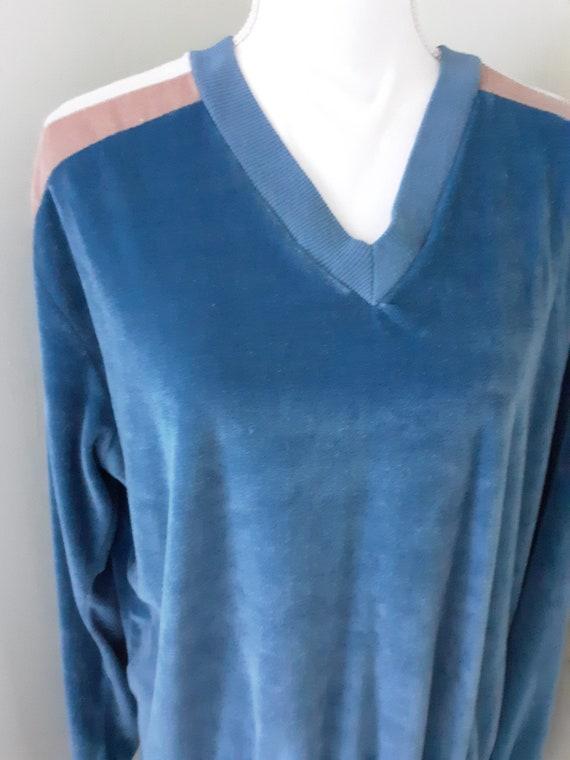 Vintage Shirt Blue Velour Sweater Cardigan Sears … - image 1