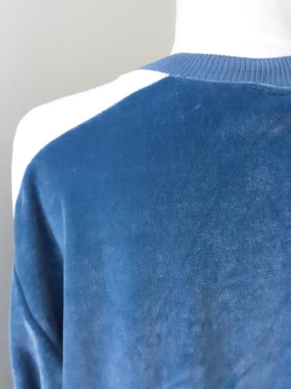 Vintage Shirt Blue Velour Sweater Cardigan Sears … - image 6