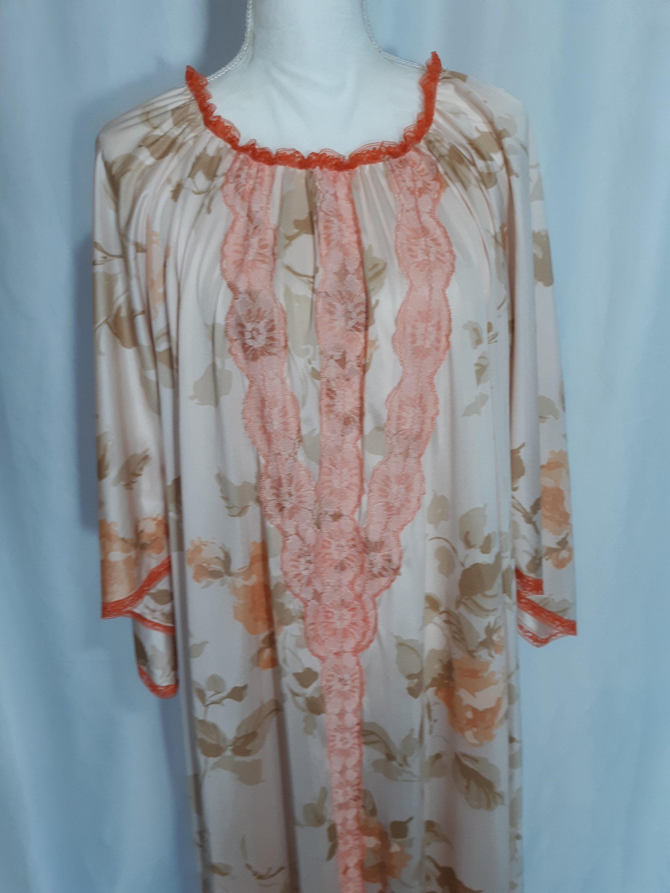 80s Dresses | Casual to Party Dresses Vintage Peach Caftan With Floral Pattern Orange Lace Ankle Length Bell Sleeves 1970s 1980s Sleepwear Robe Dress  601 $0.00 AT vintagedancer.com