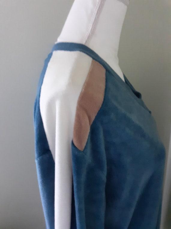 Vintage Shirt Blue Velour Sweater Cardigan Sears … - image 7