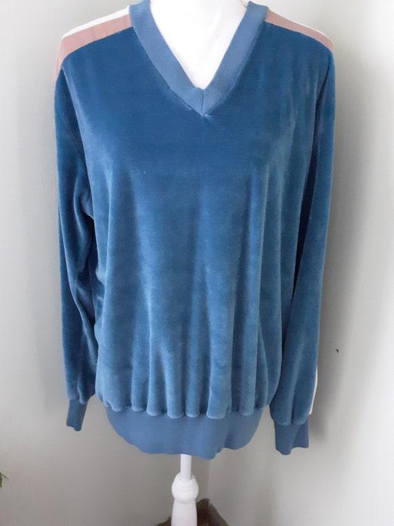 Vintage Shirt Blue Velour Sweater Cardigan Sears … - image 2
