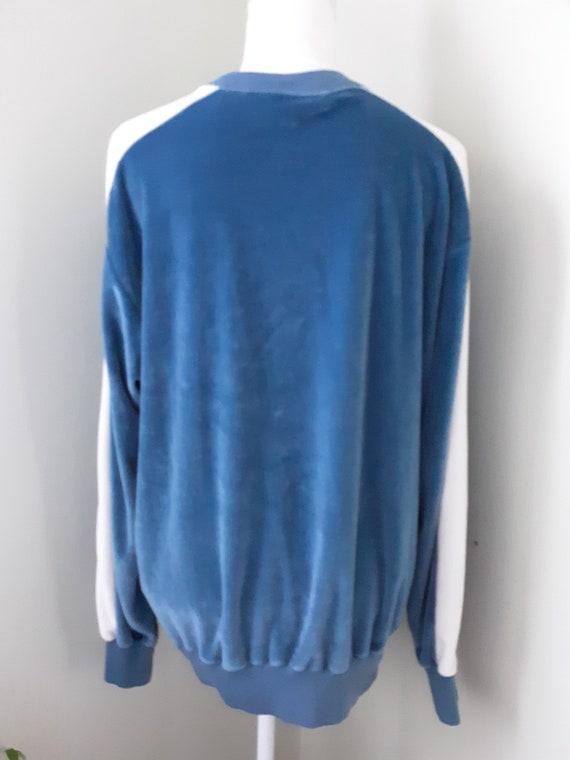 Vintage Shirt Blue Velour Sweater Cardigan Sears … - image 5