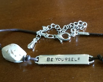 Be Yourself Leather Cord Bracelet