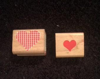 Set of 2 Heart Wooden Rubber Stamps Solid Heart by Rubber Stampede Checkered Heart by Inkadinkado
