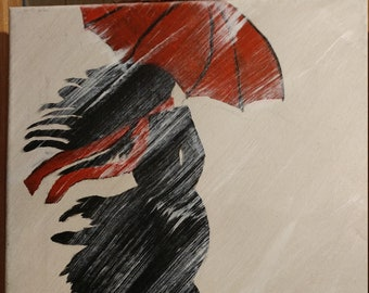 Girl with red umbrella acrylic on canvas
