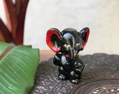 Small 1950s Japan Hand Painted Black Ceramic Elephant Figurine Gift for Elephant Collector