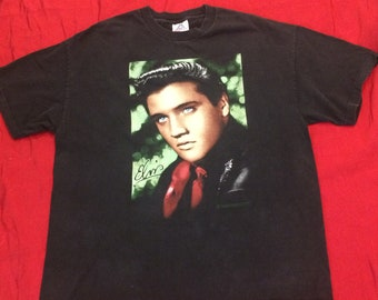 5edfcd0a23db Vintage Elvis Presley T Shirt with green glitter accents - Size XL