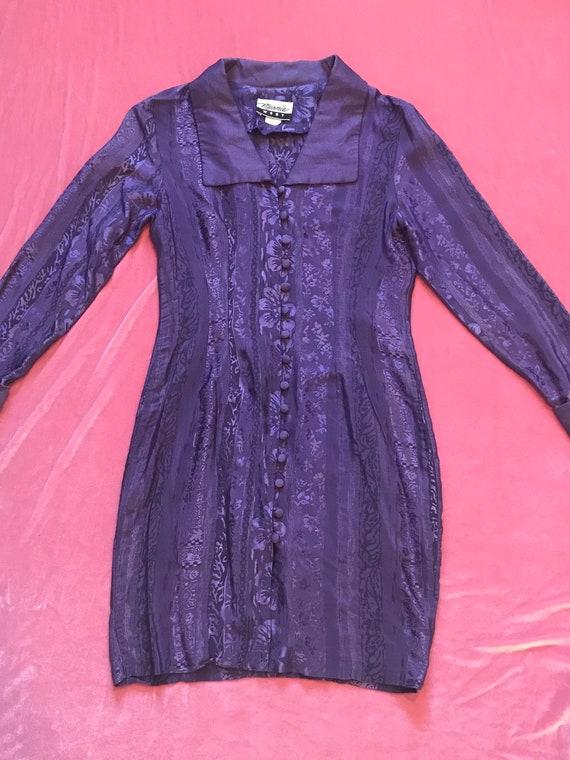 Gorgeous 1980s Shiny Purple Floral Dress w/ Wide C