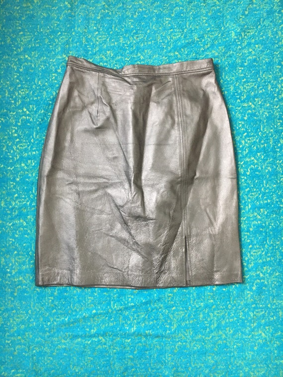 80s 90s Vintage Silver Leather Pencil Skirt - 100%