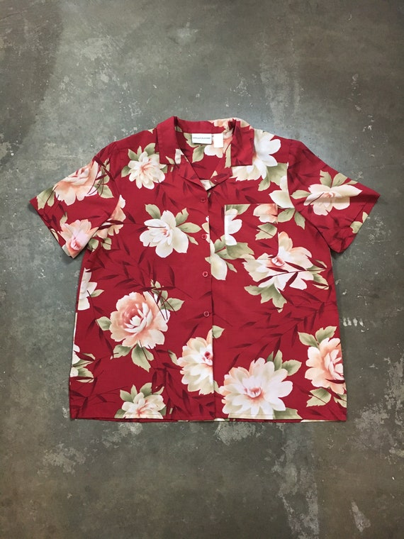 50/% SUMMER SALE Vintage 90s Liz Claiborne Light Blue Floral Flower Print Button Down Long Sleeve Collared Shirt Top Blouse Sz Large