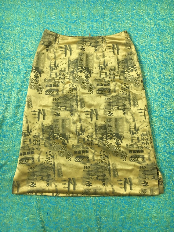 90s Y2K Vintage Shiny Gold Printed Pencil Skirt -