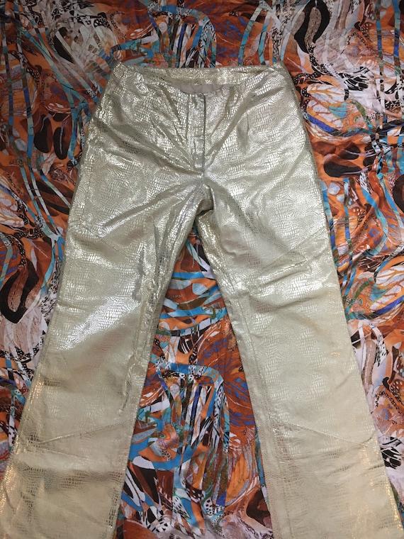 Shiny Vintage Gold Leather Snakeskin Pants - 80s 9