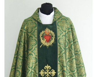 """Gothic style Chasuble with a matching stole """"Sacred Heart of Jesus"""", Vestments for Priest, Catholic Vestments, Liturgical Chasuble."""