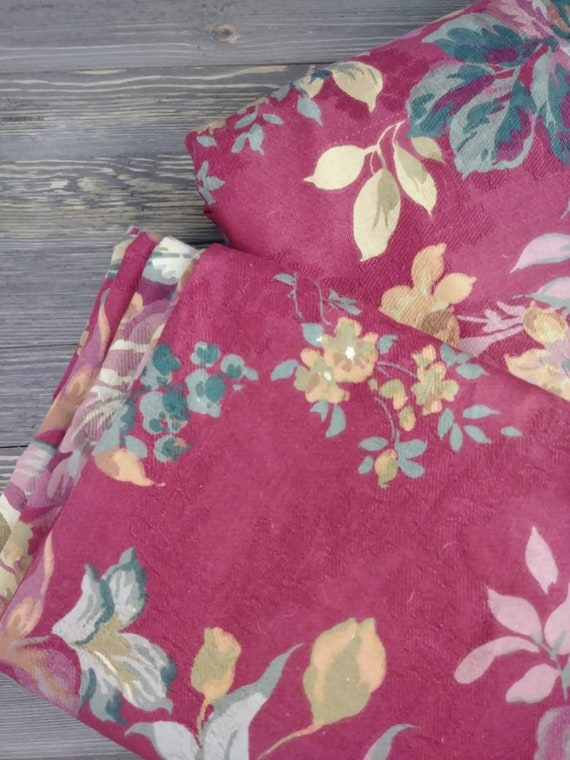Charmant Designer Upholstery Fabric Floral Print Red Floral Two | Etsy