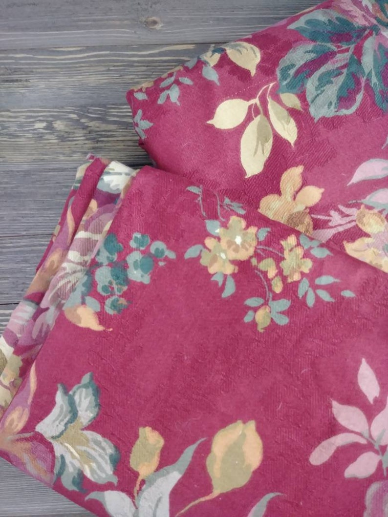 Designer Upholstery Fabric Upholstery| Interior D\u00e9cor| Sewing| By the yard Two Prints Floral Print Red Floral