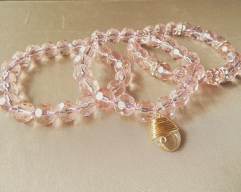 Amore Pink Trio w/ Wire Wrapped Crystal