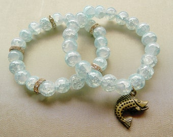 Crystal Waters Bracelet Duo w/ Fish Charm