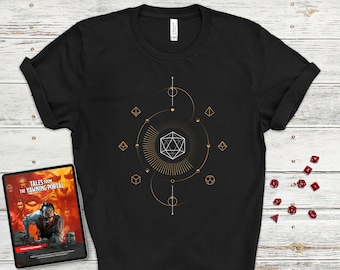 Geometric Dungeons and Dragons Shirt  Minimal D20  Polyhedral dice  Minimalist D&D  Dungeon master (dm) gifts   Unique DnD Shirt