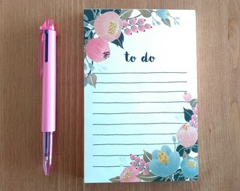 To Do Notepad Flower List Lined