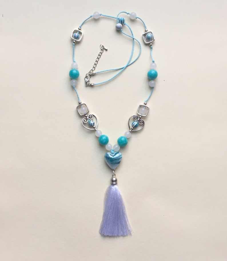 Jade Stone Ocean Colour Necklace With Tassel