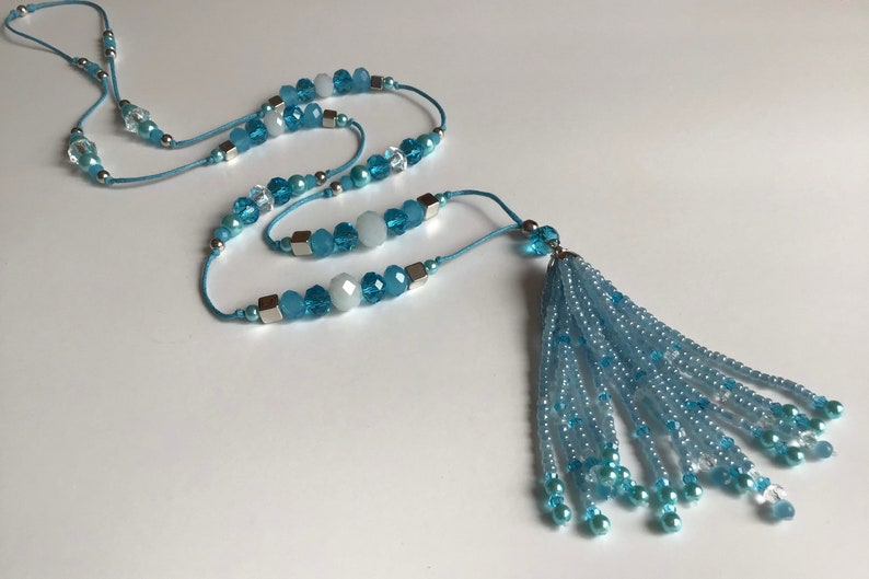 Gift Summer Necklace Sky Blue Tassel Necklace for Women Holiday Necklace Crystal Glass Necklace Beaded Necklace Unique Jewellery