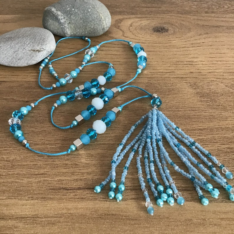 Sky Blue Tassel Necklace for Women Beaded Necklace Unique Jewellery Holiday Necklace Summer Necklace Gift Crystal Glass Necklace