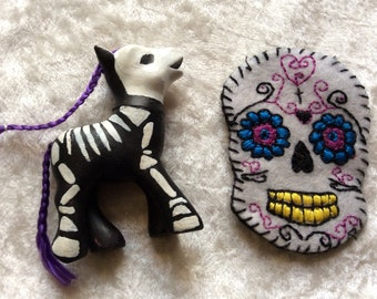 My Little Pony ( Half Painted Day of the Dead) and Fabric Sugar Skull (Half Finished) For Craft, Projects,
