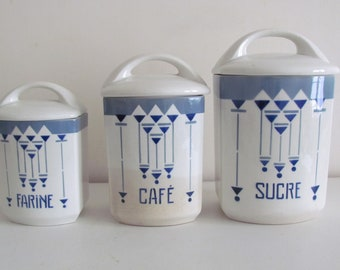 3 spice jars earthenware Choisy King (art deco, blue)