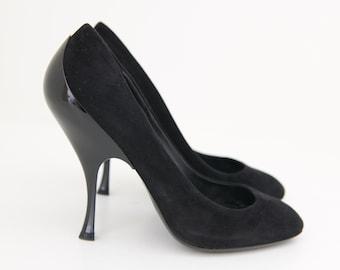 Miu Miu Suede Leather Decolleté Pumps with Resin Heel, Black, Size 38