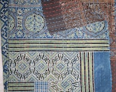 Vintage Beautiful Reversible Twin Size Quilt Indian Block Print Throw