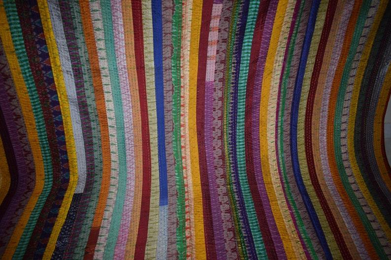 Stripe Queen Size Handmade Quilt Indian Khambadi quilt Vintage Patchwork Embroidery Quilt Blanket Bed sheet Bedspread Coverlet