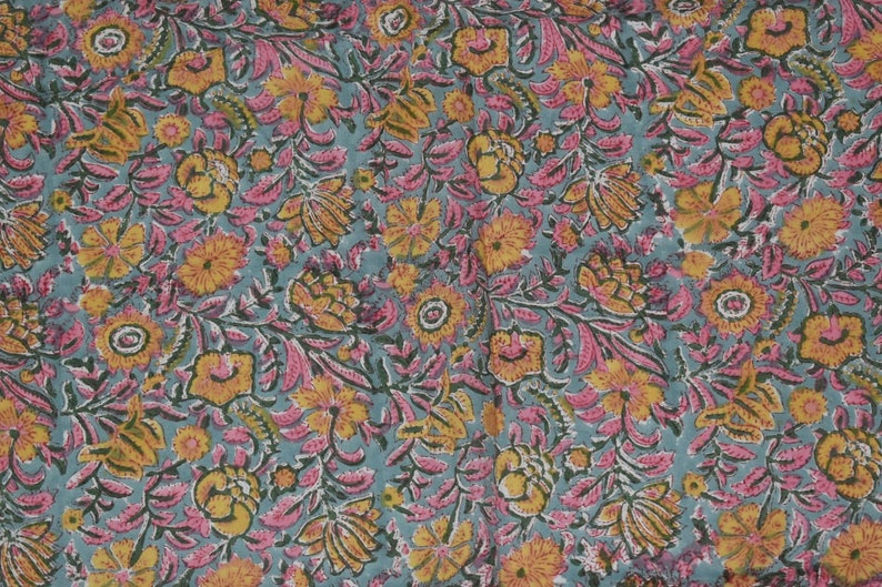 Indian Summer Dresses Floral Block Print Soft Fabric by yard Hand Stamped Printed Costume Kids Sewing Crafting Home Decor Curtains  FAB 05