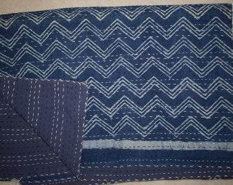 Indigo Kantha Quilt Reversible Vintage Indian quilt, Handmade Bedspread Hand block 100% Cotton Bedspread Blanket Both side
