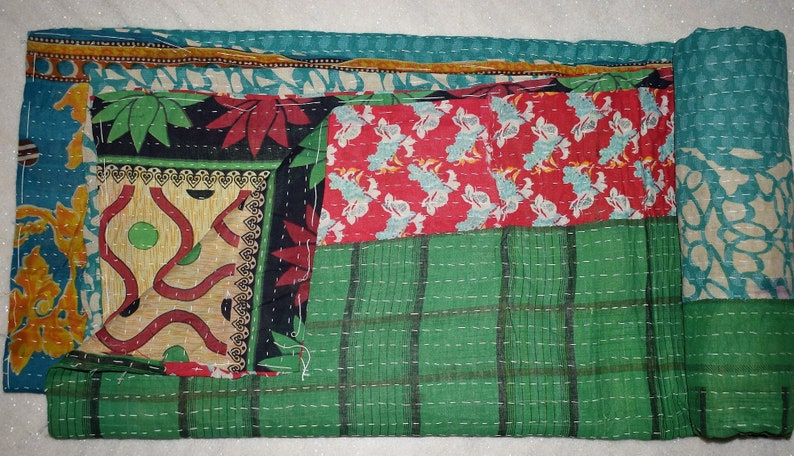 Vintage Bohemian Cotton Blanket Handmade Twin Size Indian Bedspread RL172 Traditional Hand Stitched Cotton Kantha Throw