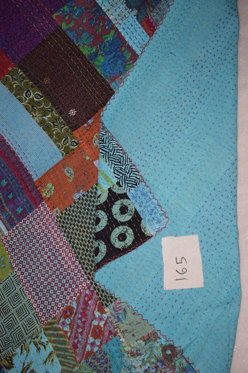 Indian Handmade Kantha quilt Bedspread Bedcover Quilt Kantha quilt coverlet vintage handmade Queen size 165