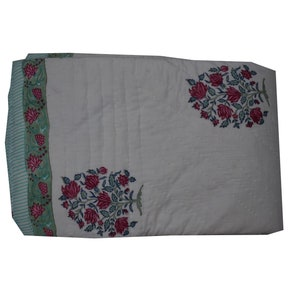 Reversible  quilt with Antique floral wood-block print size 55 X 85 inches Indian Vintage silk quilt